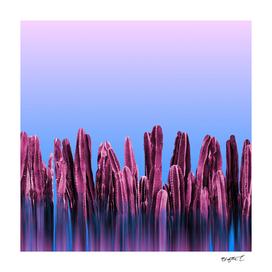 Dreamy Sunrise Cactus Landscape Glitch
