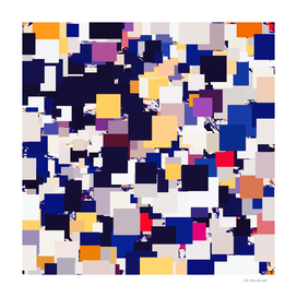 geometric square pixel pattern abstract in blue yellow red