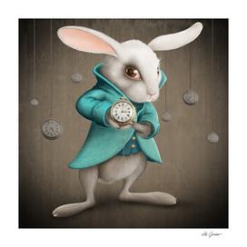 White Rabbit with Clocks