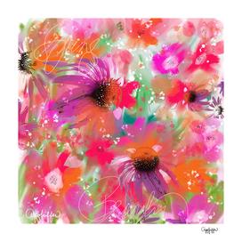 Floral Fun in Purple, Pink and Orange Flowers
