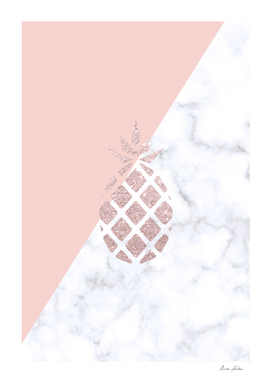 Rose gold glitter and marble pineapple