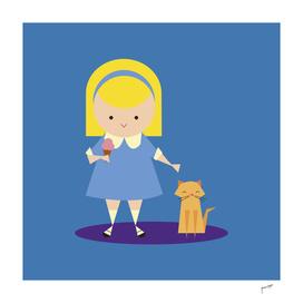 Girl, Cat and Ice Cream