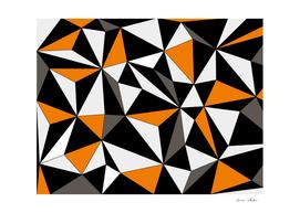 Abstract geometric pattern - orange, gray, black and white.