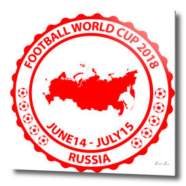 Football World Cup 2018 stamp red
