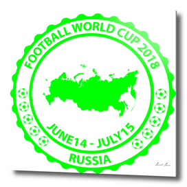 Football World Cup 2018 stamp green