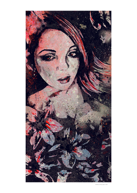 Ruined Our Everything: Red (graffiti flower lady portrait)