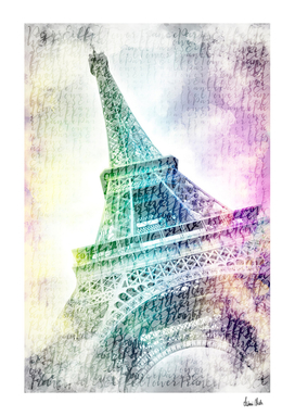 PARIS Watercolor Eiffel Tower | rainbow-colored