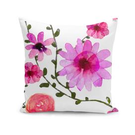 Vintage watercolor floral pink