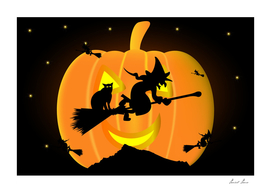Witch on a broomstick,