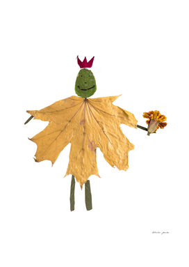 Children applique of dry leaves on autumn theme