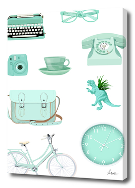 pastel green retro items