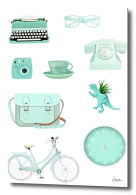 pastel green retro items