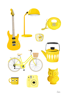 yellow retro object collection