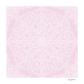 White Mandala on Pastel Pink Linen Textured Background