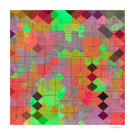geometric square pixel pattern abstract in green orange red