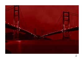 Golden Gate Bridge Mirrored In Red