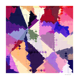 geometric square pixel and triangle pattern in pink blue