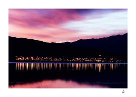Japan Village Pink Sunset
