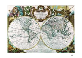Mappe Monde Nouvelle 1744 World Map