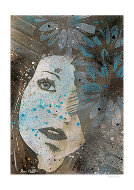 Lack Of Interest: (graffiti dark lady with daisies)