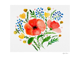 Flower bouquet with poppies - red and green