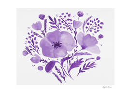Flower bouquet with poppies - purple