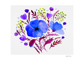 Flower bouquet with poppies - blue and purple