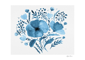 Flower bouquet with poppies - blue