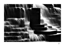 Waterfall Steps Black & White