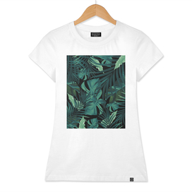 Tropical Jungle Night Leaves Pattern #1