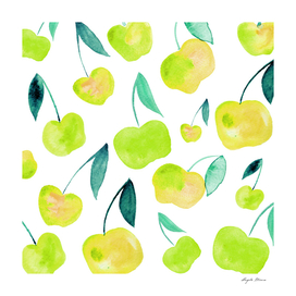 Watercolor cherries - yellow and green