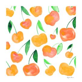 Watercolor cherries - orange and green