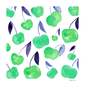 Watercolor cherries - green and blue