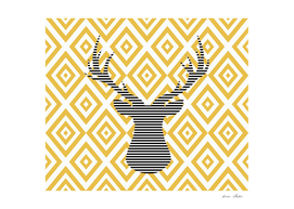 Deer - geometric pattern - beige.
