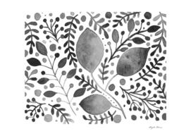 Watercolor foliage - black and white