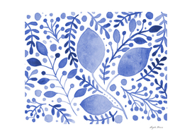 Watercolor foliage - blue