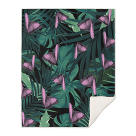 Tropical Butterfly Jungle Night Leaves Pattern #1