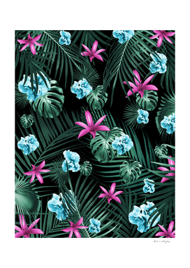 Tropical Flowers & Leaves Jungle Night #2