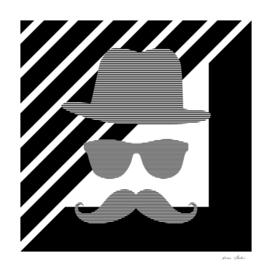 Man - hat, glasses, mustache - geometric.