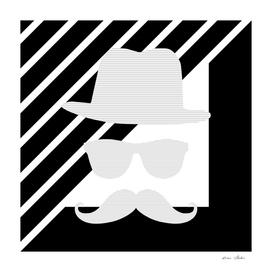Man - hat, glasses, mustache - geometric gray.