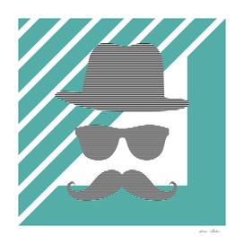 Man - hat, glasses, mustache - geometric - blue.