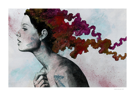 Moral Red Eclipse (colorful hair woman with moths tattoos)