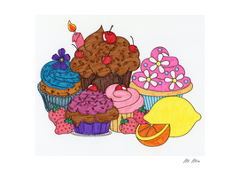 cupcakes and fruits