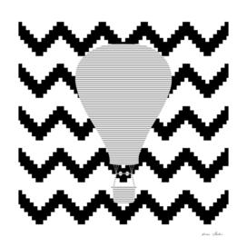 Air Balloon - geometric pattern - gray, black and white.