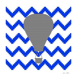 Air Balloon - geometric pattern - blue and white.