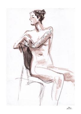 Nude model, life sketch