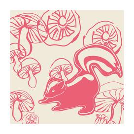 skunk with mushrooms