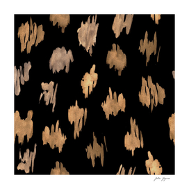 Abstract watercolor brush stroke black golden