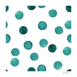 Watercolor green polka dots circles white pattern