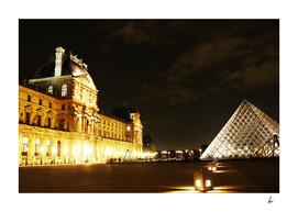 Paris Louvre Night Lights